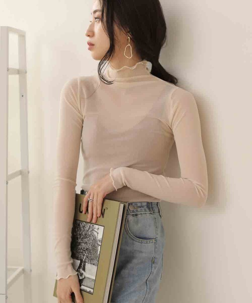 Bab(バブ)の「【WEB限定】メッシュメロウシースルーインナー(Tシャツ/カットソー)」 オフホワイト