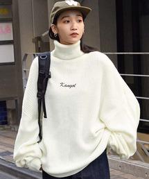 KANGOL/カンゴール 別注 ロゴ刺繍 オーバーサイズ アゼアミ ダルマスリーブ タートルネックニットオフホワイト