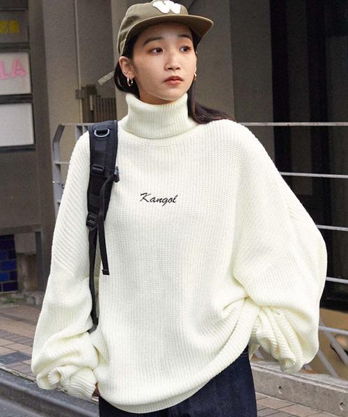 KANGOL/カンゴール 別注 ロゴ刺繍 オーバーサイズ アゼアミ ダルマスリーブ タートルネックニット