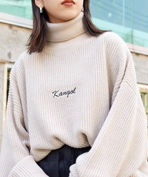 KANGOL/カンゴール 別注 ロゴ刺繍 オーバーサイズ アゼアミ ダルマスリーブ タートルネックニットベージュ系その他2