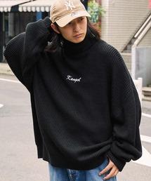 KANGOL/カンゴール 別注 ロゴ刺繍 オーバーサイズ アゼアミ ダルマスリーブ タートルネックニットブラック