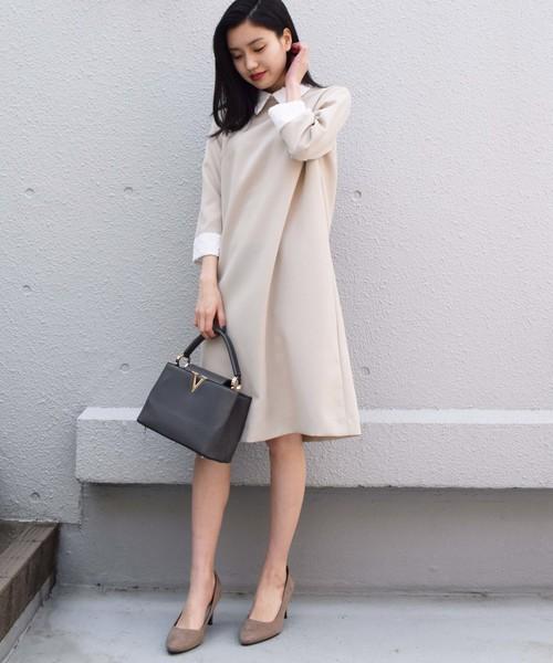 BE NEAT(ビーニート)の「PICCIN別注【日本製】衿&カフス付きワンピース(ワンピース)」 ベージュ