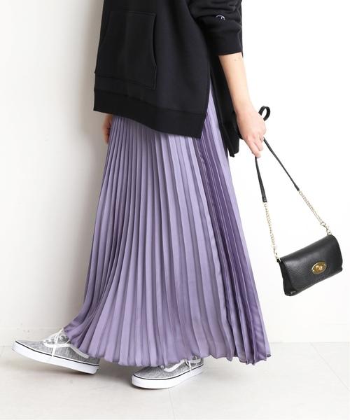 SLOBE IENA(スローブイエナ)の「サテンプリーツスカート◆(スカート)」|ラベンダー