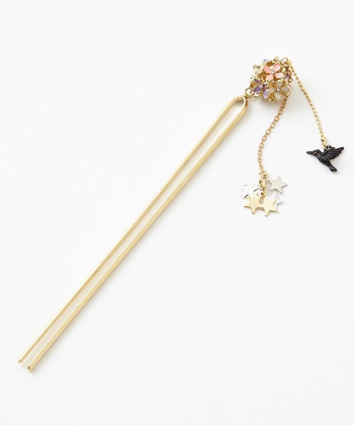 髪飾り「花かご鳥かんざし」