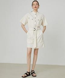 【Fano Studios】ノーカラー スカート シャツオールインワン FX20L209ホワイト