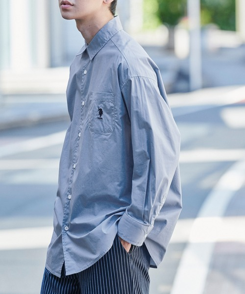 U.S. POLO ASSN. /ユーエスポロアッスン 別注 ワンポイント刺繍ロゴ オーバーサイズ L/S レギュラーカラーブロード/デニム シャツ
