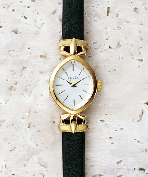 agete(アガット)の「革ベルトジュエリーウォッチ 【AGETE33BK時計】(アナログ腕時計)」|イエロー系その他