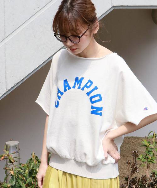【Champion】ロゴビッグクルーネックスウェット