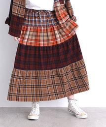 CHILD WOMAN(チャイルドウーマン)のネルチェックパッチワーク ティアードスカート(スカート)