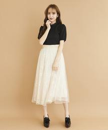 フラワーチュールレイヤードスカートオフホワイト