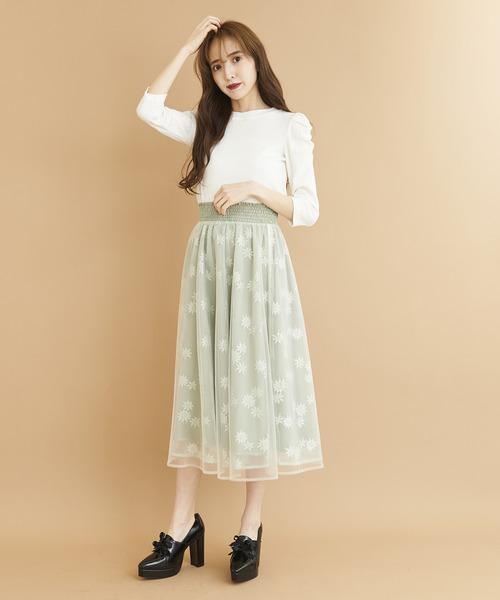 フラワーチュールレイヤードスカート