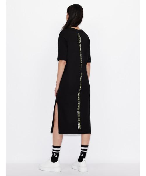 【A|Xアルマーニ エクスチェンジ】バック縦ロゴ 半袖Tシャツワンピース