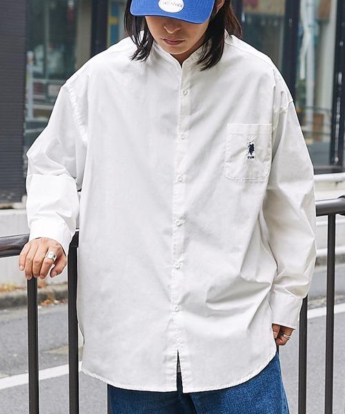 U.S. POLO ASSN. /ユーエスポロアッスン 別注 ワンポイント刺繍ロゴ オーバーサイズ L/S バンドカラーブロード/デニム シャツ
