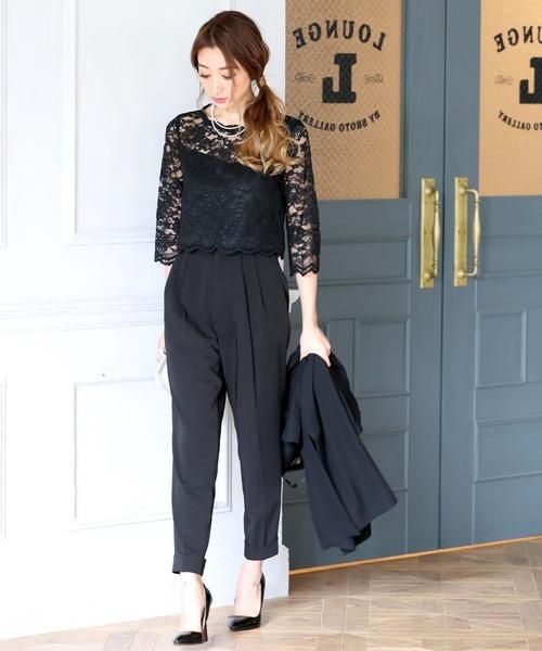DRESS LAB(ドレスラボ)の「レース セットアップ パンツ ドレス【2点セット】結婚式 フォーマル パーティードレス(ドレス)」|ブラック