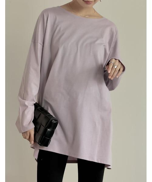 Re:EDIT(リエディ)の「USAコットンオーバーサイズカットソーTシャツ(Tシャツ/カットソー)」 ピンク