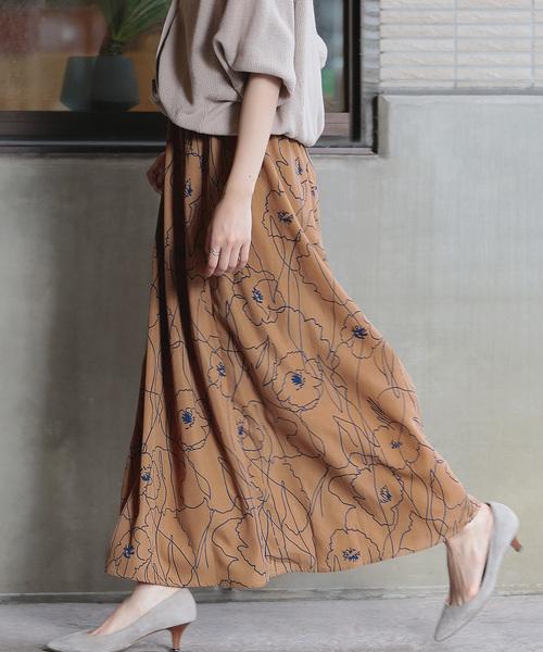 Bou Jeloud(ブージュルード)の「《再入荷》アートフラワーロングスカート(スカート)」 キャメル