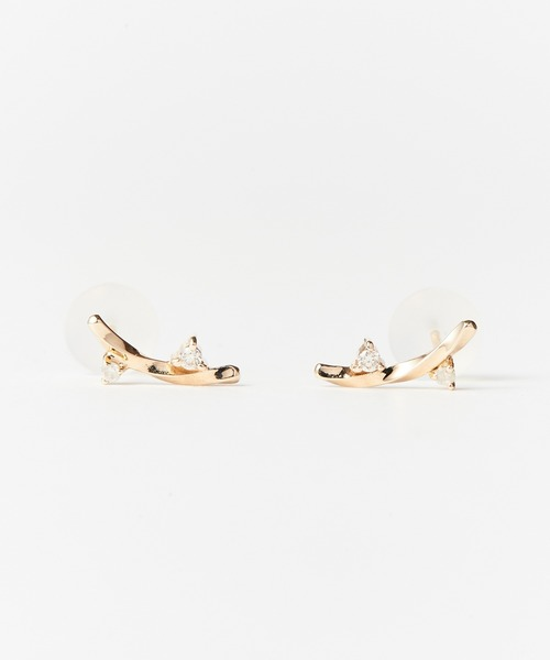 Phoebe(フィービィー)の「【K10】ツイストダイヤモンドピアス(ピアス(両耳用))」 ゴールド
