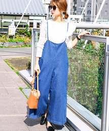 Fashion Letter(ファッションレター)のデニムキャミワイドサロペット(サロペット/オーバーオール)