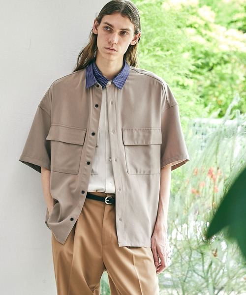 ブライトポプリンリラックスレギュラーカラーオーバーCPOシャツ 1/2 sleeve(EMMA CLOTHES)