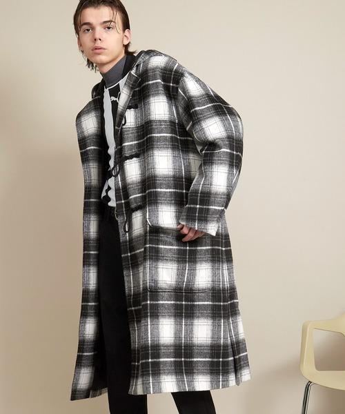 オーバーサイズテックウールフーデッドコート/ロングダッフルコート EMMA CLOTHES 2020AW