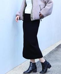 reca(レカ)の裏起毛で暖か&ベージックデザインでヘビロテ決定◇ウエストゴム裏起毛タイトロングスカート(スカート)