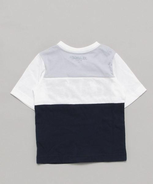 ロゴパネル切替浅Vネック半袖Tシャツ