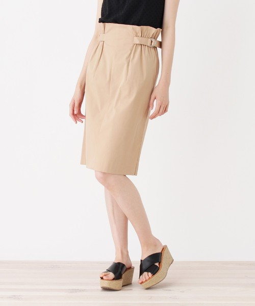 index(インデックス)の「【洗える】ハイウエストギャザータイトスカート(スカート)」 ベージュ