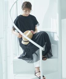 pual ce cin(ピュアルセシン)の水玉チュール刺繍ワンピース(Tシャツ/カットソー)