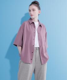 ブライトポプリンリラックススクエア レギュラーカラー シャツ Poplin Regular Collar Shirt 1/2 short sleeveパープル系その他