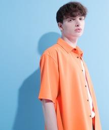 ブライトポプリンリラックススクエア レギュラーカラー シャツ Poplin Regular Collar Shirt 1/2 short sleeveオレンジ系その他