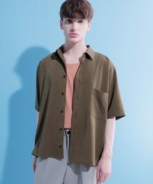 ブライトポプリンリラックススクエア レギュラーカラー シャツ Poplin Regular Collar Shirt 1/2 short sleeveブラウン