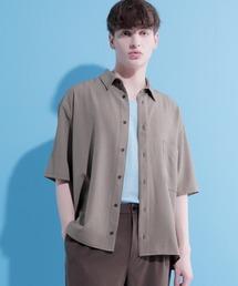 ブライトポプリンリラックススクエア レギュラーカラー シャツ Poplin Regular Collar Shirt 1/2 short sleeveベージュ系その他2