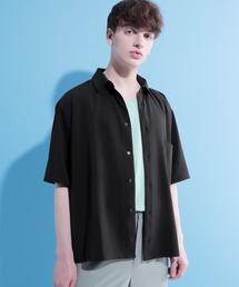 ブライトポプリンリラックススクエア レギュラーカラー シャツ Poplin Regular Collar Shirt 1/2 short sleeveブラック