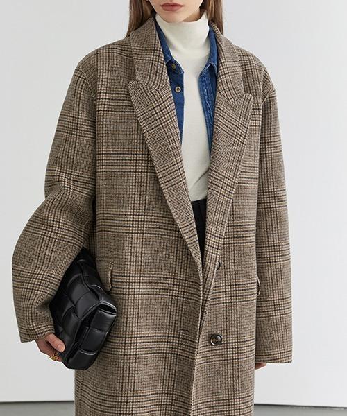 【Fano Studios】【2021AW】River tailored glen check chester coat FD20W206