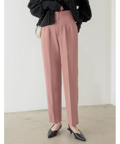 Re:EDIT(リエディ)の「ツイルハイウエストダーツテーパードパンツ(その他パンツ)」 ピンク