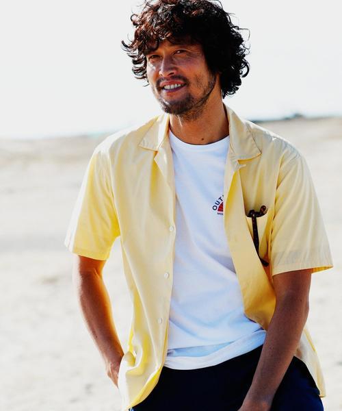 CM コットンシルクポプリン オープンカラー 半袖シャツ