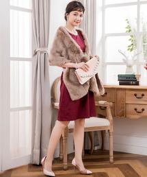 DRESS STAR(ドレス スター)のブローチ付き大判フェイクファーパーティーショール(ストール/スヌード)