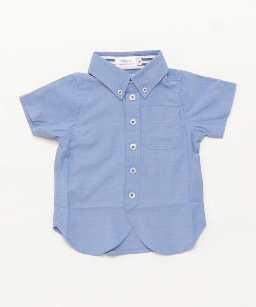 [90-100]ジャンブレーボタンダウン半袖シャツ