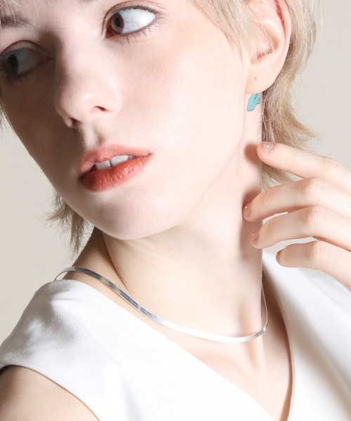 【YArKA/ヤーカ】silver925 simple flat necklace[SNK]/シンプルフラットネックレス(チョーカー) 3mm