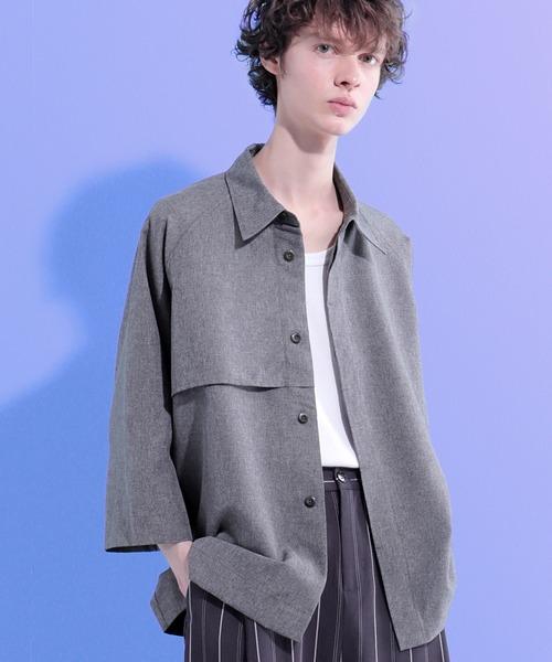 ポリトロ ビッグシルエットヨークトレンチシャツ (EMMA CLOTHES)