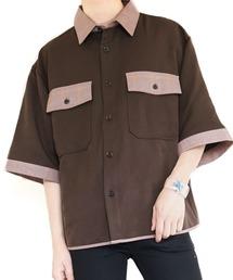 ファッションインフルエンサー ぼーん × BASQUE magenta  TR 配色切り替え半袖シャツブラウン系その他