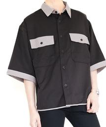 ファッションインフルエンサー ぼーん × BASQUE magenta  TR 配色切り替え半袖シャツブラック