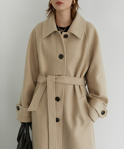 【Fano Studios】【2021AW】Wool blend belted bal collar coat FD20W218