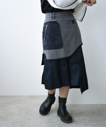 ミリタリーデザインスカートチャコールグレー