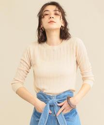 【予約】【WEB限定】by ※アイレット7分袖サマーニット -手洗い可能-