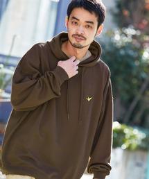 Mark Gonzales/マークゴンザレス MONO-MART別注ロゴ刺繍 オーバーサイズ プルオーバーパーカーブラウン