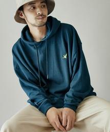 Mark Gonzales/マークゴンザレス MONO-MART別注ロゴ刺繍 オーバーサイズ プルオーバーパーカーブルーグリーン