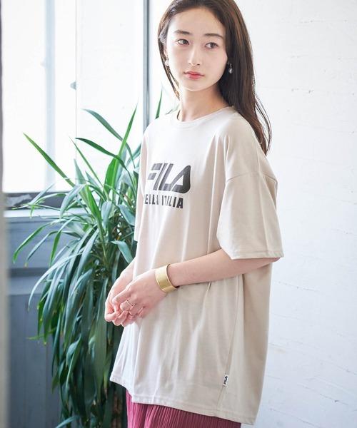 MONO-MART×FILA/フィラ 別注 ビッグシルエット フロントBIGロゴ&バックロゴ プリント半袖Tシャツ