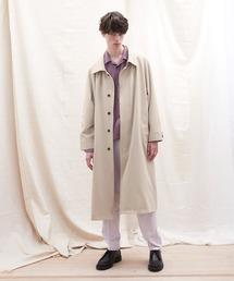 オーバーサイズ ストレッチサテン ヨークデザインルーズスリーブ ロングバルマカンコート EMMA CLOTHES 2021 S/Sベージュ