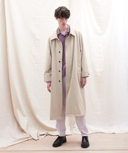 オーバーサイズ ストレッチサテン ルーズスリーブ ヨークデザイン ロングバルマカンコート/ルーズバルカラーコート EMMA CLOTHES 2021 SPRING